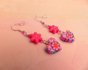 Pair of pink girl and Flower Earrings