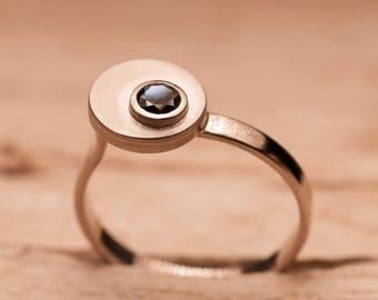 Ring white gold 18 K black diamond knuckle ring, women ring, ring, gold ring gold engagement ring, unique ring.