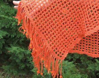 Stole / shawl crocheted, cotton Orange embellished with translucent beads.