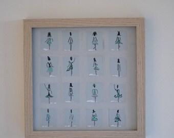 Peinture acrylique sur toile silhouettes de femmes, minimaliste cadre bois , tons pierre