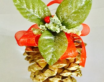 Decorative Gold or Red Pine Cone Ornament 4 pcs.