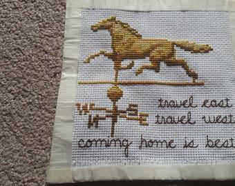 Weathervane horse with phrase
