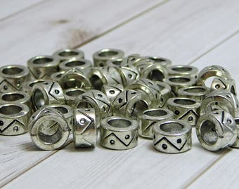 12pcs - 10x5mm - Large Hole Beads - Metal Beads - Silver Spacer Beads - Pewter Beads - Metal Rondelle - (183)