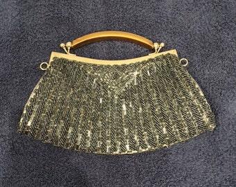 Vintage Blue Beaded Handbag
