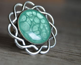 Silver green ring - green Adjustable ring - adjustable silver ring green cabochon