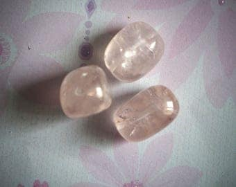 3 veined transparent AGATE, 20x30mm, pink beads