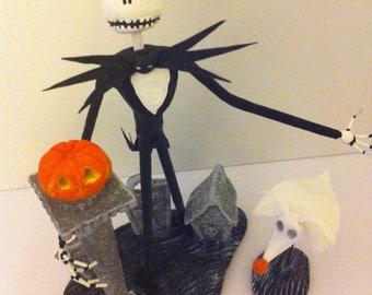 "JACK SKELLINGTON & ZERO figurine from Tim Burton's ""the nightmare before Christmas of Mr Jack"" (model 1)"