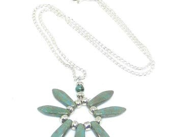 Turquoise, Blue, Picasso, Czech, Glass Dagger Bead, Flat Leaf, Daisy, Necklace