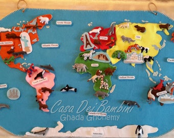 World map animals etsy montessori world map felt geography lesson educational toys handmade craft felt activities gumiabroncs Image collections