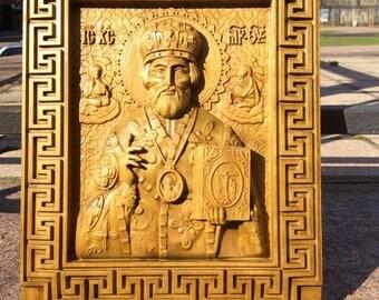 """Carved orthodox ikon """"Saint Nicholas"""""""