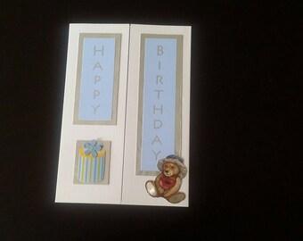 Blue c fold birthday greeting card blank inside