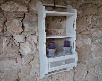 Antique ivory and raw weathered wood wall shelf