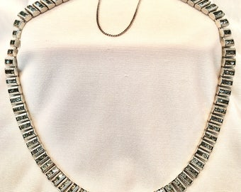 Vintage 1940s Signed Catamore Sterling and Rhinestone Art Deco Style Necklace