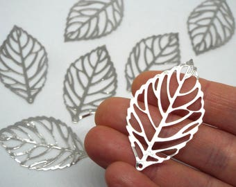 10 x Skeleton Leaf Cutout Charm/Pendant Silver Coloured 44mm x 26mm