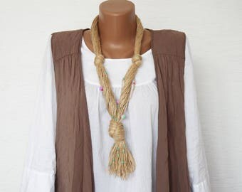 Linen necklace with knot, rustic necklace, Boho style necklace, natural rope necklace