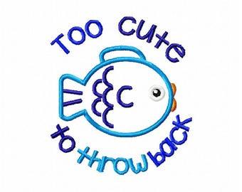 Baby embroidery design, newborn embroidery design, new baby embroidery design, fishing embroidery design, fish applique design