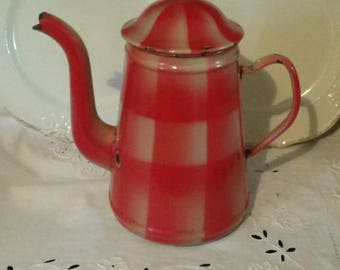 French vintage enamel coffee pot red checkered / large