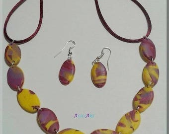 Necklace set - Earrings small oval purple and yellow