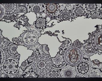 24 x 48 World Map Mandala Drawing