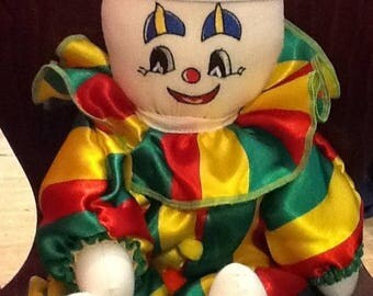 Colorful clown, embroidered face