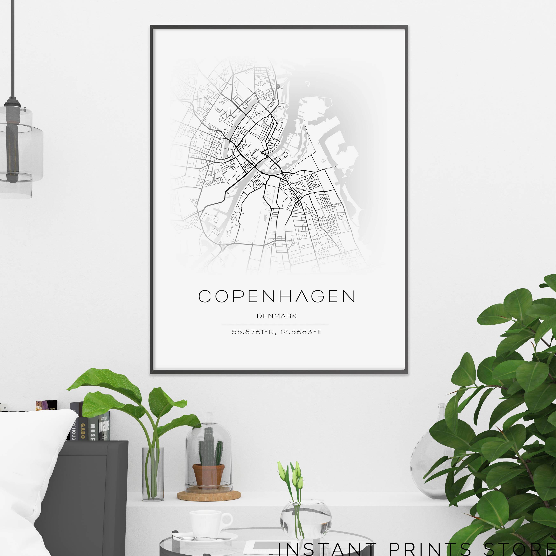 Copenhagen City Map Print Coordinates Denmark Printable Art - Sweden map coordinates
