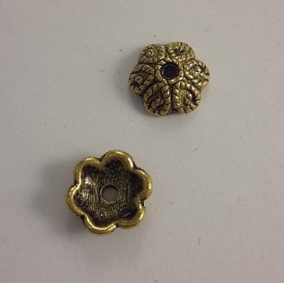 Set of 10 caps - gold color - 10 mm