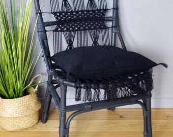 Ethnic chic Chair black rattan and macrame