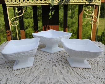 Milk Glass Pedestal Compote - Set of Three