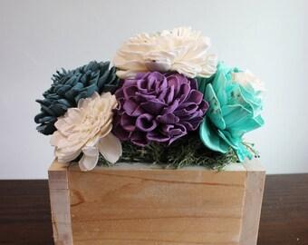 Wood Flower Succulent Box