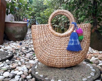 Straw Bag, Top Handles Bag, Thai Weaving Waterhyacinth