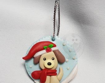 Polymer clay Kawaii dog Christmas decoration