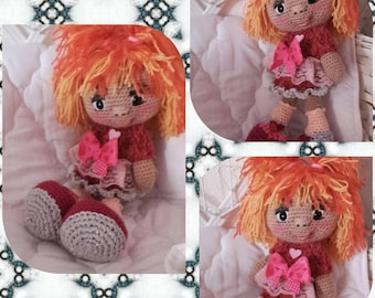 Red crocheted wool doll