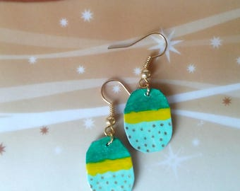 paper earrings in shades of green and yellow/earrings