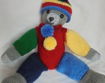 Teddy bear clown multicolor hand knit