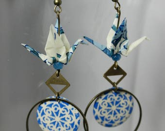 Blue and white cranes earrings origami off