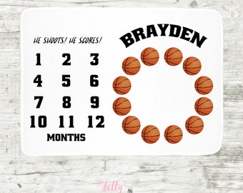 Basketball Milestone Blanket, Basketball Baby Blanket, Personalized Baby Blankie, Monthly Baby Blanket, Baby Boy Blanky, Baby Sports Blanket