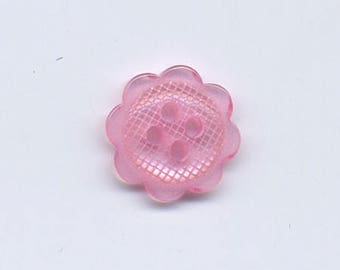 Small flower button pink 12 mm