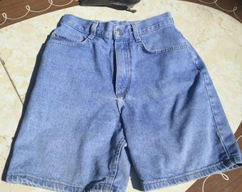 80s Lee high waisted denim jean shorts sz16 acid washed White label
