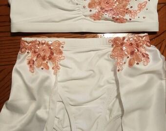2 Piece White Lyrical Dance Costume w/ applique & Rhinstones