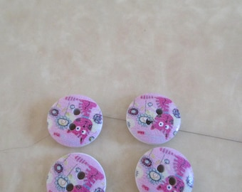 set of 4 wooden cat pattern buttons