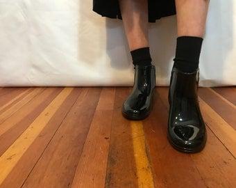 Faux Patent Chelsea Boots