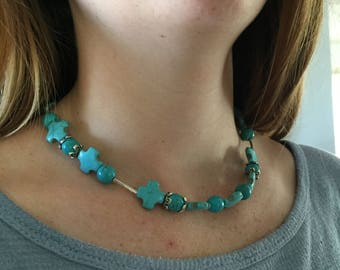 Turquoise crosses and silver choker necklace