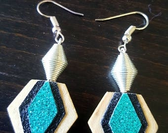 Shiny black and turquoise earrings