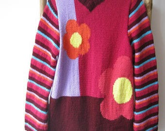 Flowers and stripes sweater