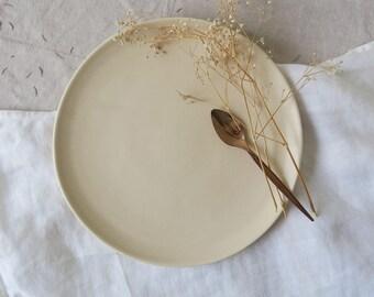 Stone lunch plate - satin matt cream plate - hand made pottery - medium plate - stoneware - hand thrown plate - tableware - dinnerset