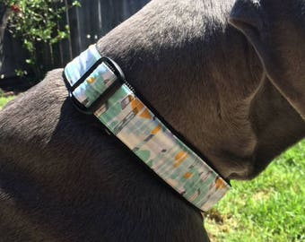 Extra Large (XL) 1.5 inch wide Adjustable Dog Collar - Abstract Aqua. Includes Reflective Buckle.