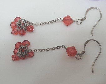 Handcrafted Hippie Boho Orange Beaded Dangle Earrings with 925 Silver Fishooks
