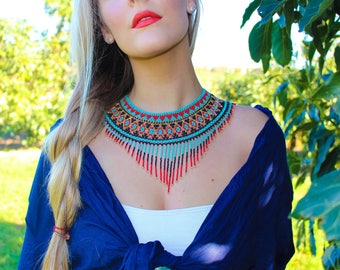 Read and blue mexican beaded necklace