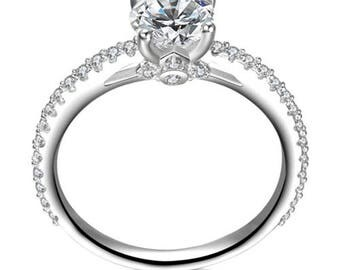 Round Cut CZ Sterling Silver Engagment Wedding Ring Women's Size 4-12 SAE028