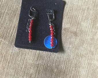 Fire polished glass bead earrings